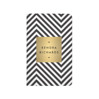 Retro Black and White Pattern Gold Name Logo Journal