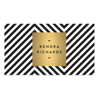 Retro Black and White Pattern Gold Name Logo Pack Of Standard Business Cards
