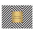 Retro Black and White Pattern Gold Name Logo Postcard