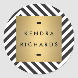 Retro Black and White Pattern Gold Name Logo Classic Round Sticker