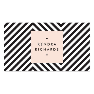 Retro Black and White Pattern Simple Name Logo Business Card Template