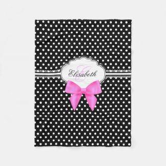 Retro black and white polka dot pink bow monogram fleece blanket