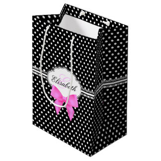 Retro black and white polka dot pink bow name medium gift bag