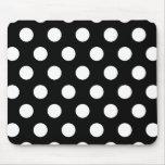 Retro Black and White Polka Dots Mouse Pad