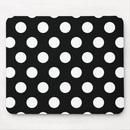 Retro Black and White Polka Dots Mouse Pad