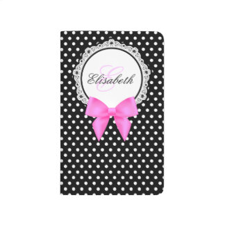 Retro black and white polka dots pink bow monogram journal