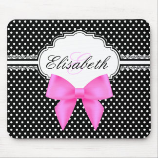 Retro black and white polka dots pink bow monogram mouse pad
