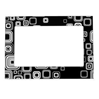 Retro black and white squares photo frame magnet