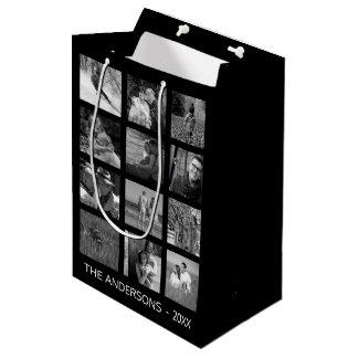 Retro Black and White Twelve Image Photo Collage Medium Gift Bag