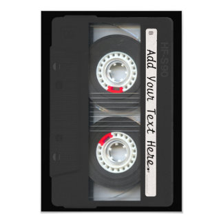 Retro Black Cassette Tape Card
