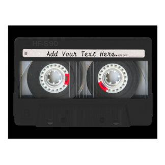 Retro Black Cassette Tape Postcard