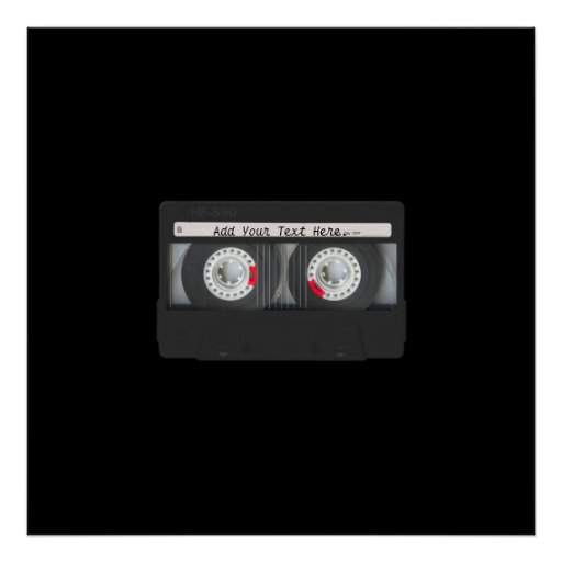 Retro Black Cassette Tape Print