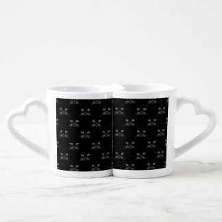 Retro Black Cat Feline Pattern Couple Mugs