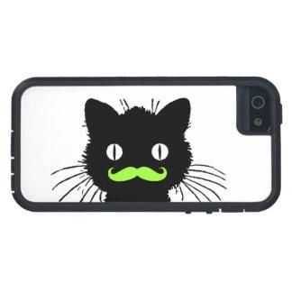 RETRO BLACK CAT FUNNY LIME GREEN MUSTACHE iPhone 5 CASE