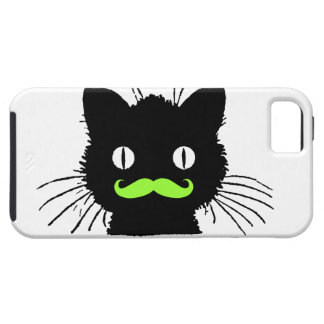 RETRO BLACK CAT FUNNY LIME GREEN MUSTACHE iPhone 5 COVER