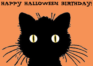 Halloween birthday cards invitations zazzle retro black cat happy halloween birthday card bookmarktalkfo Images