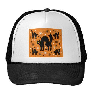 Retro Black Cats Fantasy with Starbursts on Orange Hats