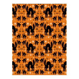 Retro Black Cats Fantasy with Starbursts on Orange Postcard
