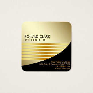 Retro Black Gold Metal Computer Financial Services Square Business Card