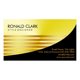 Retro Black Gold Metal Financial Services Pack Of Standard Business Cards