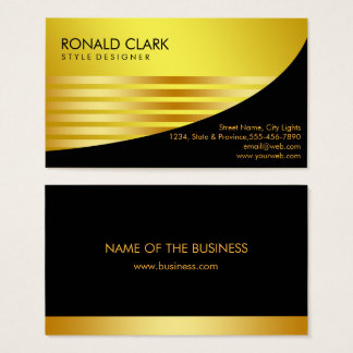 Retro Black Gold Metal Financial Services Business Card