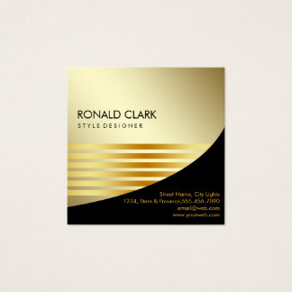 Retro Black Gold Metal Financial Services Square Business Card