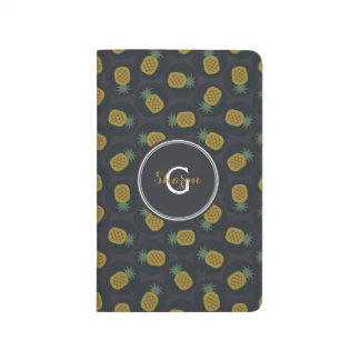 Retro black gold pineapple patterns monogram journal