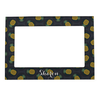 Retro black gold pineapple patterns monogram magnetic frame