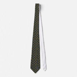 Retro black gold pineapple patterns monogram tie