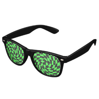 Retro black green checkerboard retro sunglasses