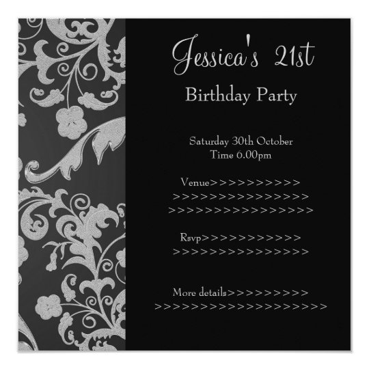 Retro Black Grey Metallic Floral 21st Birthday 3