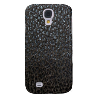 Retro Black Grunge Pebble Leather Galaxy S4 Case