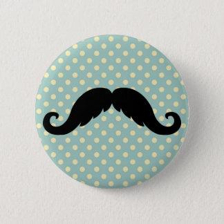 Retro Black Handlebar Mustache Moustache 6 Cm Round Badge