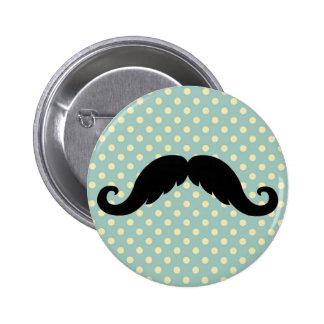Retro Black Handlebar Mustache Moustache Pinback Buttons