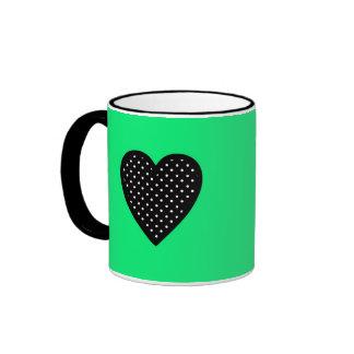 Retro Black Heart on Teal Background Coffee Mug