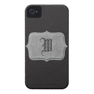 Retro Black Leather Personalized Monogram iPhone 4 Cover