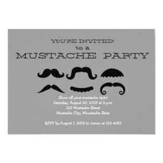 Retro Black Mustache Party Invitation