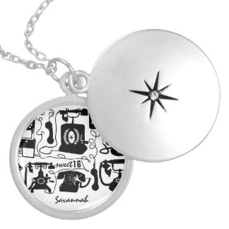 Retro Black or any color & White Telephone Pattern Round Locket Necklace