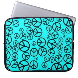 Retro Black Peace Signs on Aqua Blue Laptop Sleeve