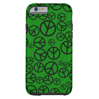 Retro Black Peace Signs on Green Tough iPhone 6 Case