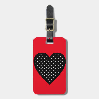 Retro Black Polka Dot Heart on Red Background Luggage Tag