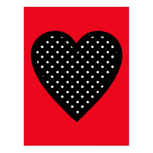 Retro Black Polka Dot Heart on Red Background Postcard
