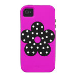 Retro Black Polka Dots Flower on Purple Background Case-Mate iPhone 4 Cover