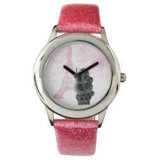 Retro Black Poodle Pink Eiffel Tower Watch