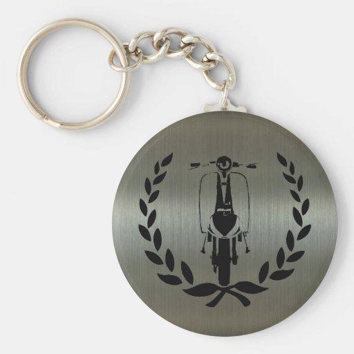 Retro Black Scooter inside laurel Keychain