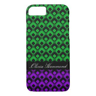 Retro Black Squares w Green & Purple, Personalized iPhone 8/7 Case