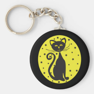 Retro Black Starry Cat Basic Round Button Key Ring