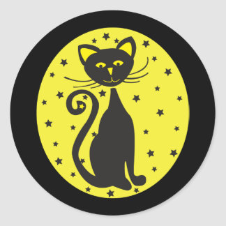 Retro Black Starry Cat Classic Round Sticker