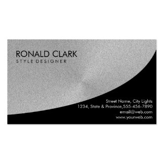 Retro Black Steel Silver Metal Financial Services Double-Sided Standard Business Cards (Pack Of 100)