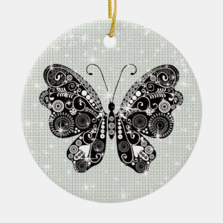 Retro Black & White Butterfly Christmas Ornament